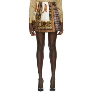 Versace signature silk & tartan plaid skirt